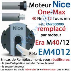 XM7500000 Moteur Nice Filaire One Max 40/12 Av FdC Manuels M 50 sans Mds/Remplacé par EM4012
