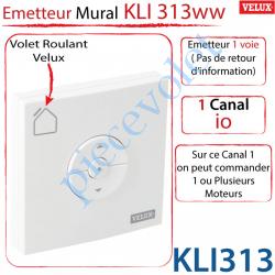 Emetteur Mural Radio io Kli 313 Ww pour Volet Roulant Velux