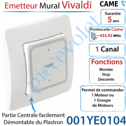 Emetteur Mural Vivaldi Came Blanc 1 Canal Fréquence:...