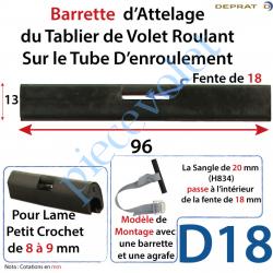 Attelage Tablier Longueur 96mm pour Sangle Souple pour...