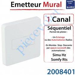 Emetteur Séquentiel Mural Aspect 2015 Simu Hz-Rts Blanc...