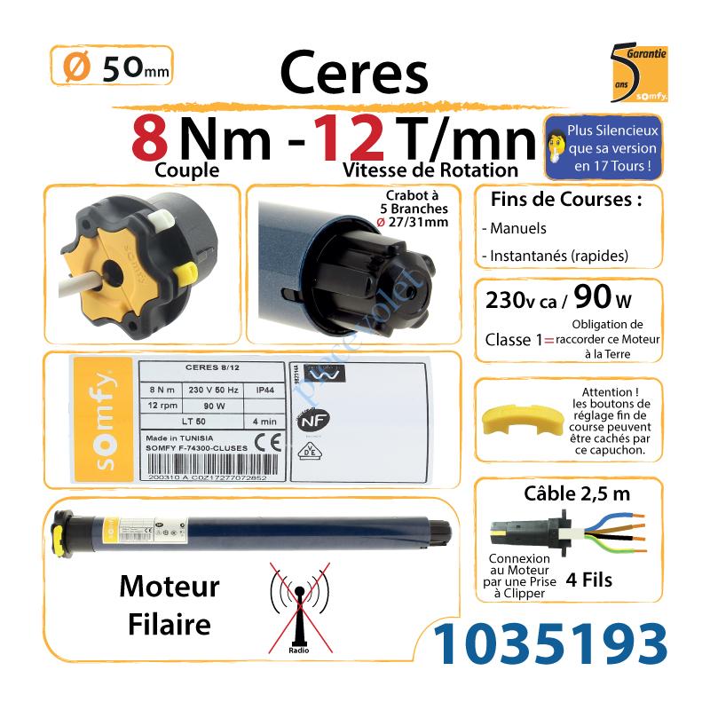 Somfy Ceres 10//17 10 Presque comme neuf rideau roulant Moteur-Rohrmotor excellent état