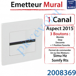 Emetteur Mural Aspect 2015 Simu Hz-Rts Blanc (1 canal)