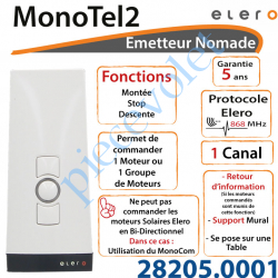 Elero multitel 2 Funk rideau roulant contrôle 15 Canal émetteur Manuel Télécommande